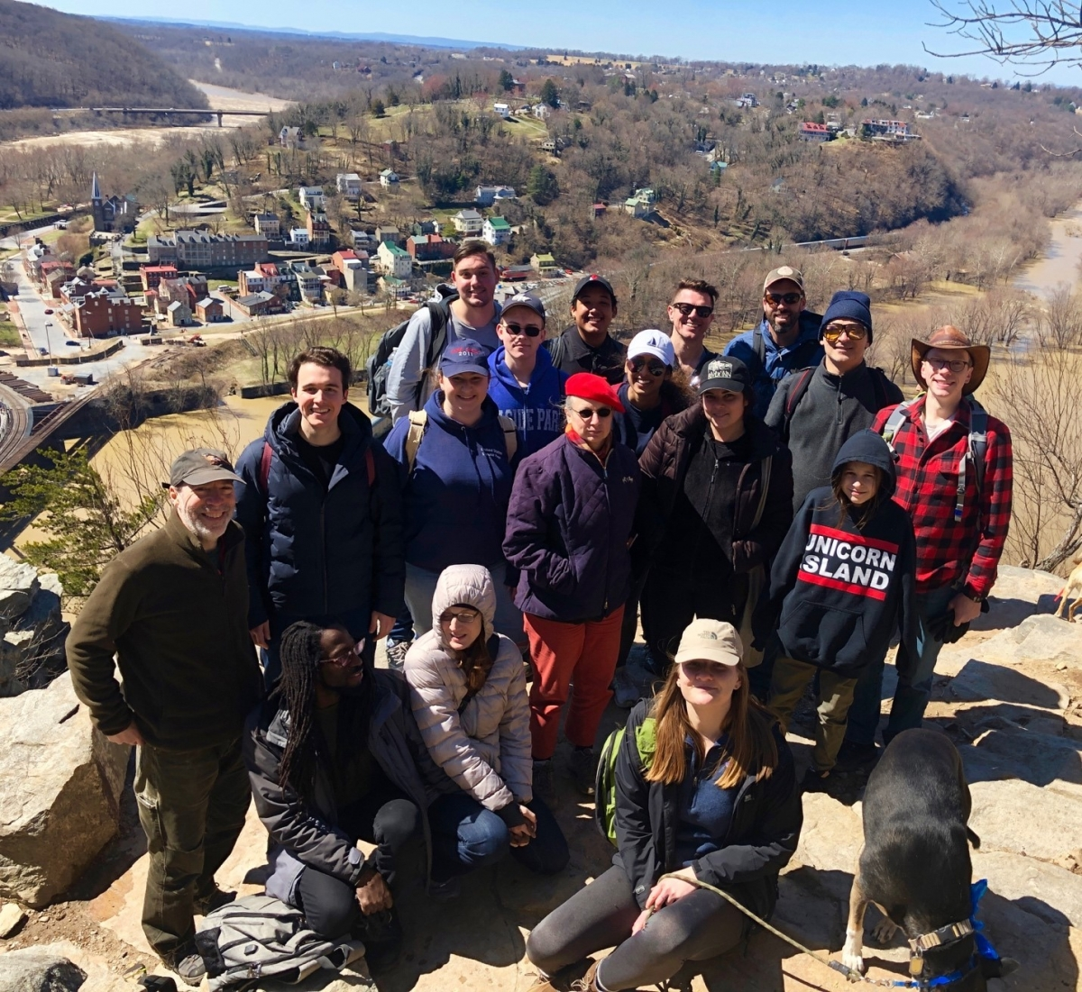 a group of GW Department of Philosophy student and staff at Harpers Ferry National Park