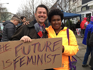 Professor Trullinger and Professor Wills at the Women's March in D.C., November 2016
