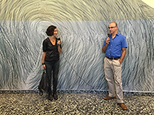 : Professor Zawidzki with Linn Myers giving an address in front of her installation at the Hirshhorn. Credit: Heidi Sheppard
