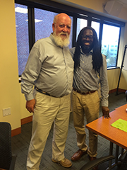 Professor Archer with Professor Daniel C. Dennett, after Dennett's talk to the Mind-Brain Institute