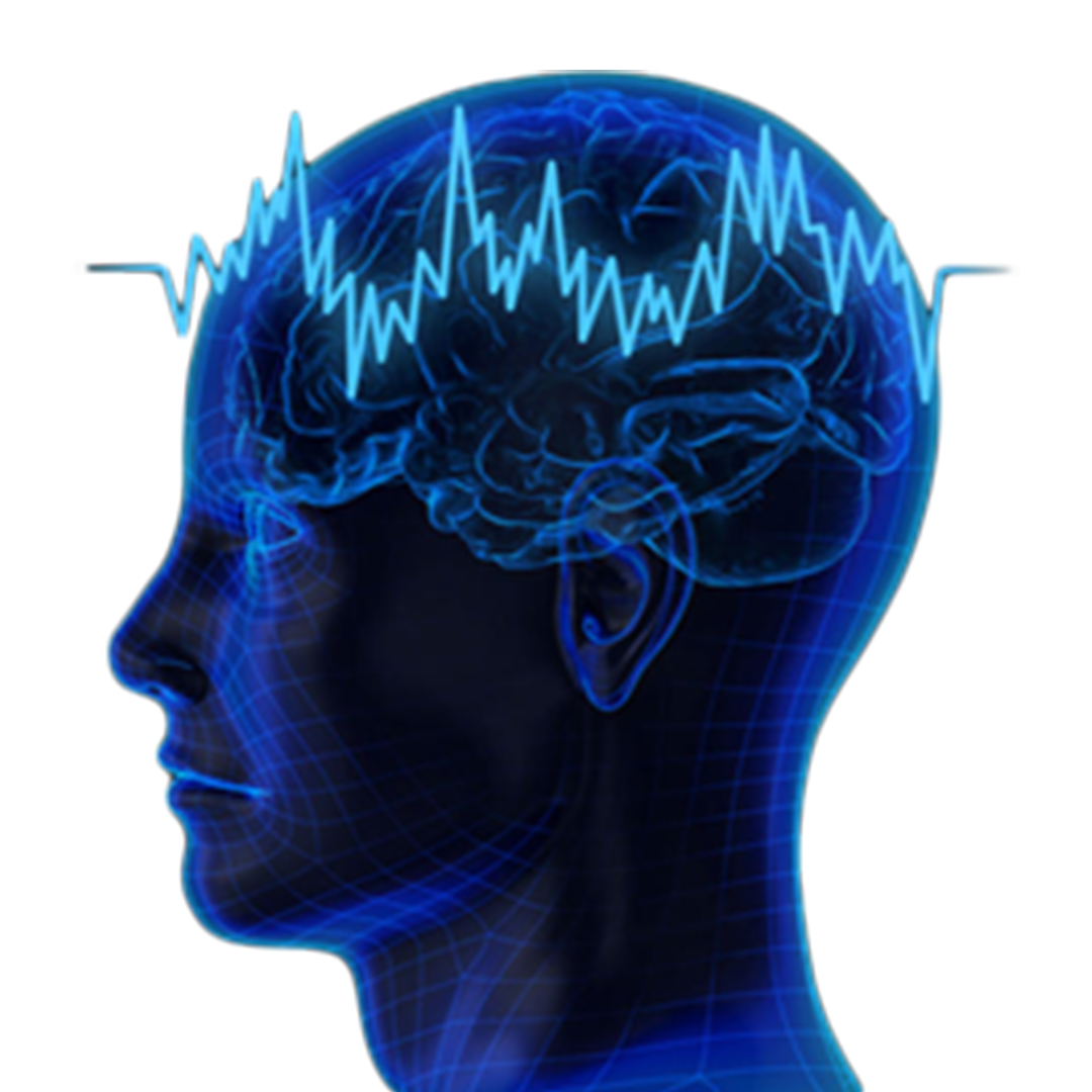 picture of a transparent blue human head showing the brain, with an electric current laid on top of the brain