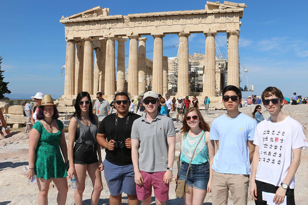 GW philosophy students standing in front of the Parthenon in Athens, Greece
