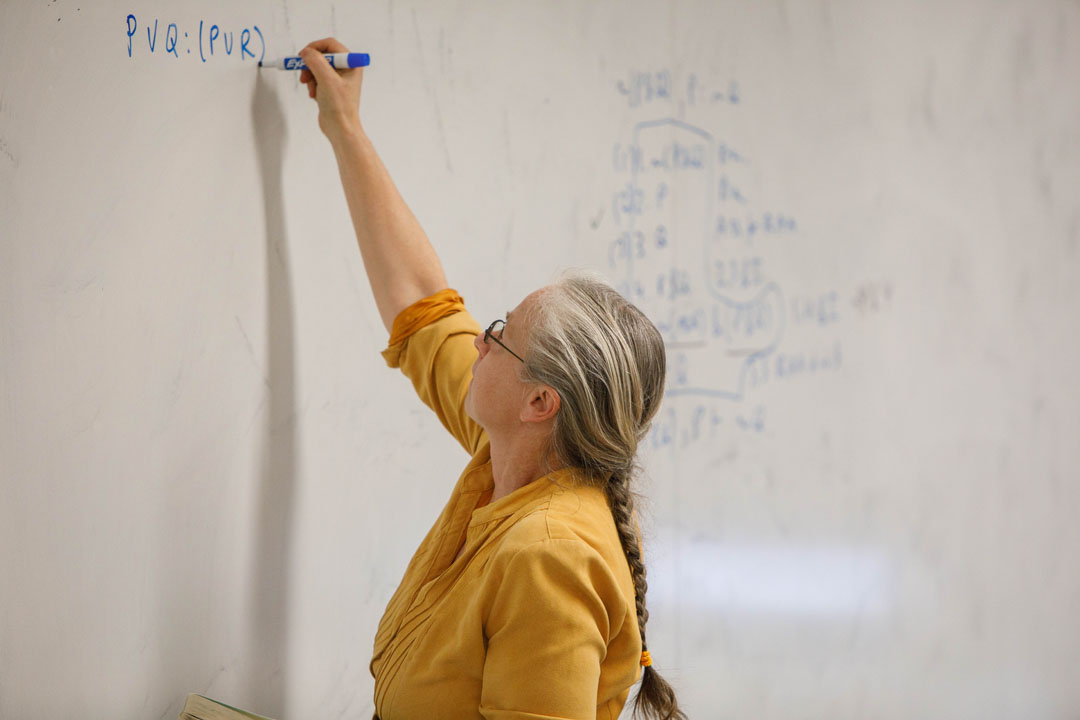 Professor Michele Friend writes on a white board