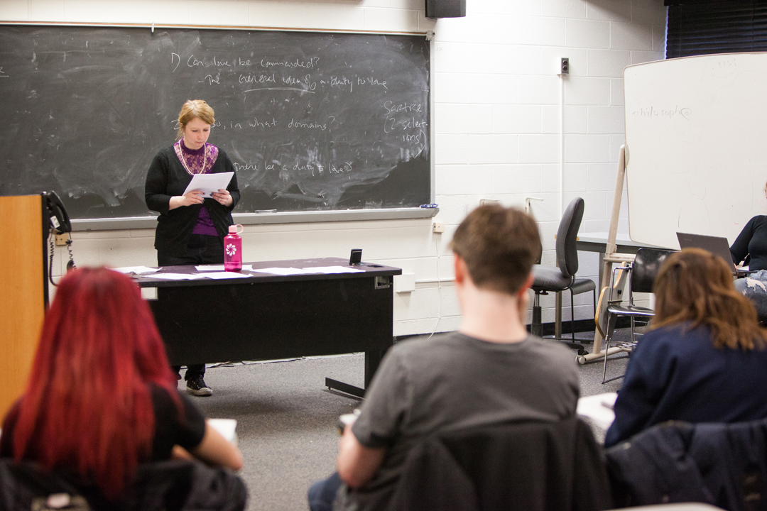Professor Laura Papish teaching a class
